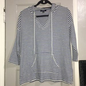 Chaps White and Blue Striped Sweater